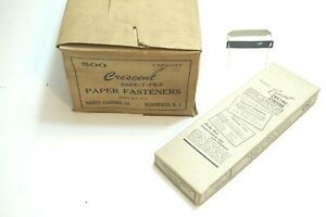 Vintage Nos Box Of 500 Crescent Safe t file Paper Fasteners Ca 1950 s Or Older