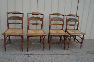 59369 Set 4 Ethan Allen Maple Dining Chair S Hitchcock Style