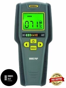 General Tools Mmd7np Moisture Meter Pinless Digital Lcd With Tricolor Bar New