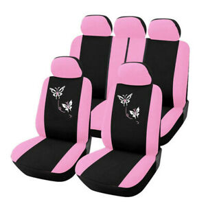 Butterfly Fashion Style Front Rear Universal Car Seat Covers Cute Rose Pink