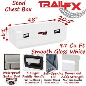 151481s Trailfx 48 White Steel Truck Bed Chest Tool Box Wedge