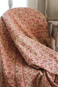 Fabric Antique French Floral Chintz W Border Jouy Red Print Cotton Textile 1830