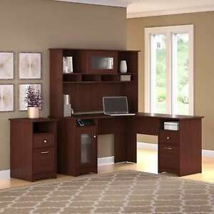 Cabot L Shaped Desk With Hutch And 2 Drawer File Cabinet In Cherry