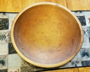 Early Antique Primitive Large Wood Wooden Bowl Munising 2nd