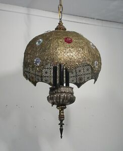 Antique Vintage Chandelier Fixture Bohemian Filigree 3 Light Fixture