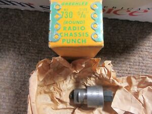 Vintage Greenlee 730 Round Radio amp Chassis Knock out Hole Punch 5 8 Nos