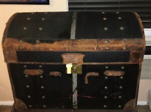 Large Antique Dome Top Leather Steamer Trunk Chest Circa Late 1800 S