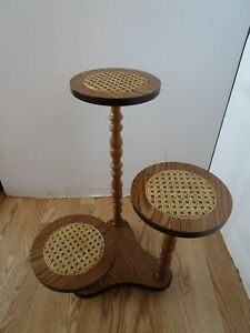 Vintage 3 Tier Pedestal Plant Stand Side Table Turned Wood Caned Taiwan 21 T