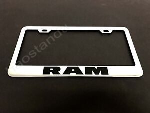 1x Ram Stainless Steel License Plate Frame Screw Caps