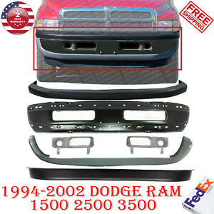 Complete 6 Pc Front Bumper Kit Black Face Bar For 94 2002 Dodge Ram 1500 3500