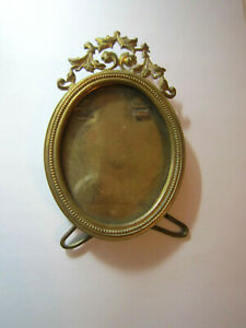 Vintage Small Miniature Round Ornate Brass Standing Photo Frame French