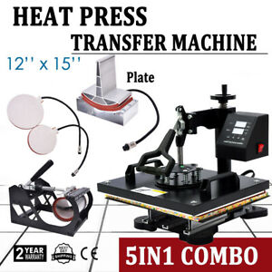 5 In 1 Heat Press Machine For T shirts Combo Kit Sublimation Swing Away 12 x15