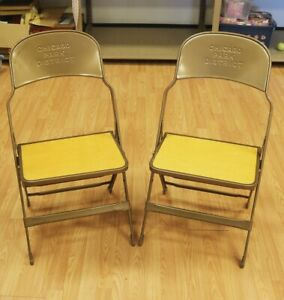 Vintage Chicago Park District Folding Clarin Chair Set Of 2