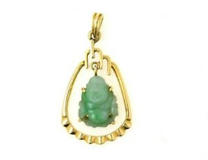 Vintage 14k Gold Pendant W Green Chinese Jade Buddha Estate Find