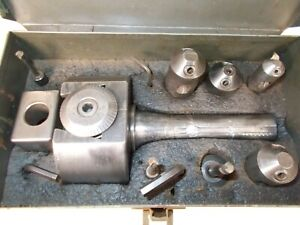Bridgeport No 2 Boring Head With Cutters Metal Case R8 Shank Used