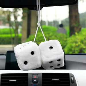 Large 40cm White Plush Fuzzy Rearview Mirror Hanging Dice Hot Rod Car Truck Auto