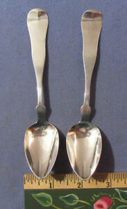 Two Antique Currier Trott Coin Silver Spoons Boston Ma
