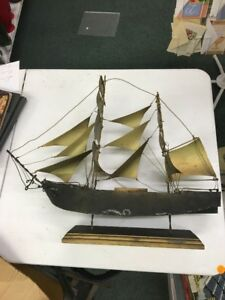Handmade Metal Sailing Ship Artist Signed 1969 Pirate Vintage Model 22