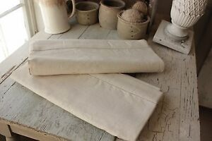 Vintage French Linen Fabric 2 Sheets Matching Pieces For Upholstery