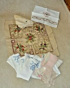 Lot Vintage Table Linen Hand Worked Embroidery Lace