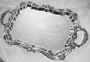 Antique Silver Plate English Butlers Lg Tray Handles Shells Ferns 4 Footed