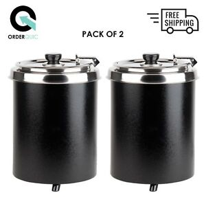 2 Pack 6 Qt Black Soup Kettle Warmer Commercial Chili Nacho Cheese 10 Can