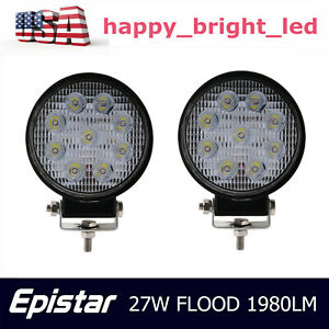 2x 27w Round Led Work Light Bar Flood Driving Lamp Boat Truck Offroad Suv 4wd