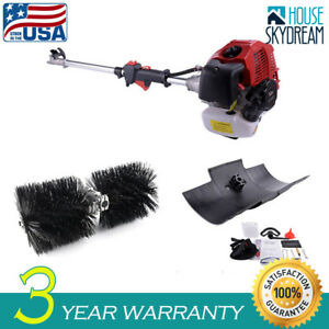 New One Set 52cc Gas Power Hand Held Walk Behind Sweeper Broom Cleaning Driveway