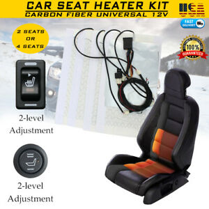 Car Seat Heater Kit Carbon Fiber Universal Heated Cushion Warmer 2 Level Us A
