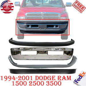 Front Bumper Chrome W Upper Lower Cover For 1994 2001 Dodge Ram 1500 2500 3500