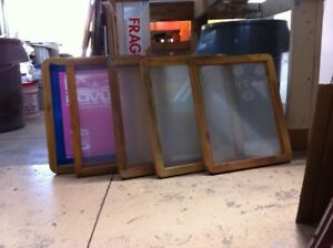 5 Used Wooden Silk Screen Printing Screens