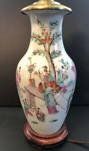 Antique Chinese Famille Rose Porcelain Vase With Lamp Mount