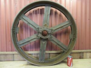 Antique Hit Miss Gas Steam Engine Line Shaft Flat Belt Pulley 34 X 7 2 Piece