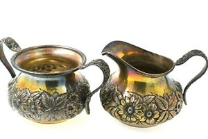 S Kirk Son Sterling Silver Floral Repousse Hand Decorated Creamer Sugar 41