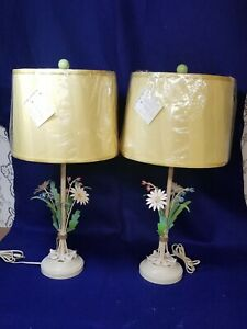 Vintage Painted Metal Tole Floral Bouquet Hollywood Regency Table Lamps Pair