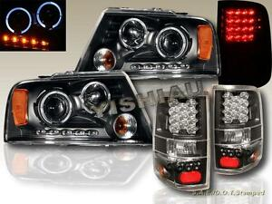 2004 2008 Ford F150 Dual Halo Led Projector Headlights Led Black Tail Lights
