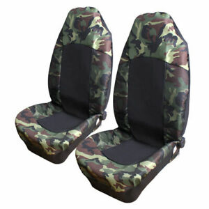 2pcs Universal Camo Camouflage Car Van Suv High Back Bucket Front Seat Covers