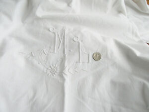 Antique Linen Sheet With French Embroidered Monogram M L Trousseau