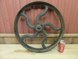 Antique Cast Iron Hit Miss Gas Steam Engine Line Shaft Flat Belt Pulley 20