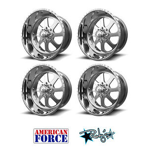 4 20x10 American Force Polished Ss8 Burnout Wheels For Chevy Gmc Ford Dodge