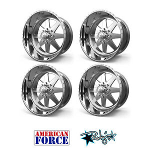 4 20x9 American Force Polished Ss8 Independence Wheels Chevy Gmc Ford Dodge