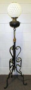 Antique Wrought Iron Brass Oil Kerosene Piano Floor Lamp Electrified The B H