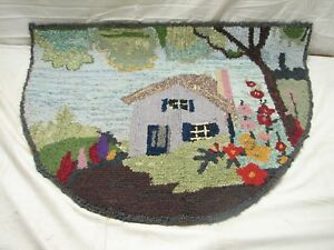 Vintage Hooked Rug Art Kitchen Mat Hand Made Floral Cottage Cabin Garden Runner