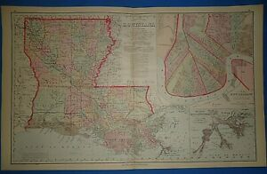 Vintage 1883 Louisiana New Orleans Map Old Antique Original Ow Gray Atlas