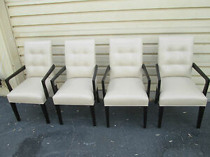 55577 Set Of 4 Leather Bergere Office Dining Chair S Armchairs