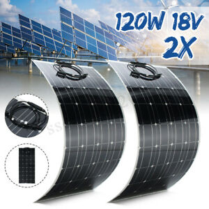 240w 18v Mono Flexible Solar Panel Battery Charger 2x 120w For 12v Car Boat Roof