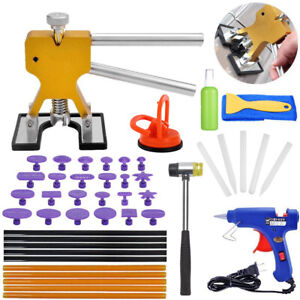 Paintless Dent Repair Removal Tool Auto Body Kit Puller Lifter Glue Gun Tabs Qw