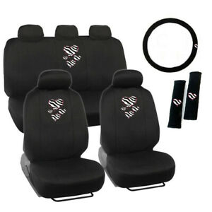 Hearts Zebra Stripes Logo Black Front Back Car Seat Covers Steering Wheel Cover