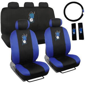 New Blue Hawaiian Flowers Front Back Car Seat Covers Steering Wheel Cover Set