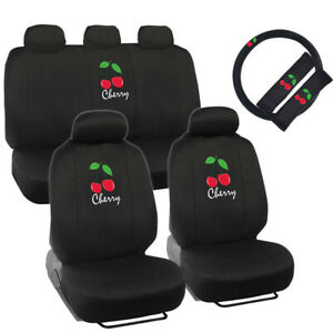 New Red Cherry Logo Black Front Back Car Seat Covers Steering Wheel Cover Set